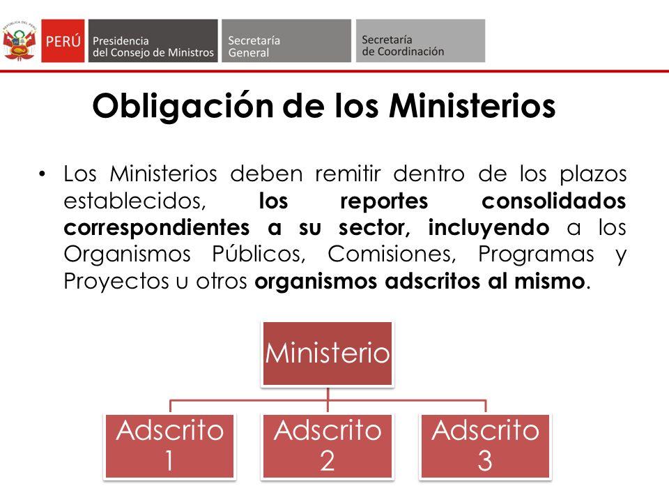 Obligación de los Ministerios