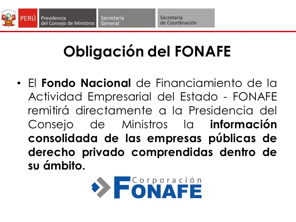 Obligación del FONAFE