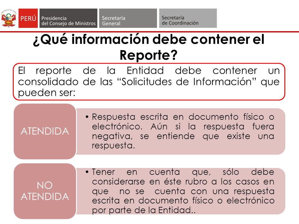 ¿Qué información debe contener el Reporte