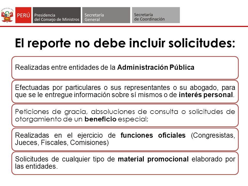 El reporte no debe incluir solicitudes: