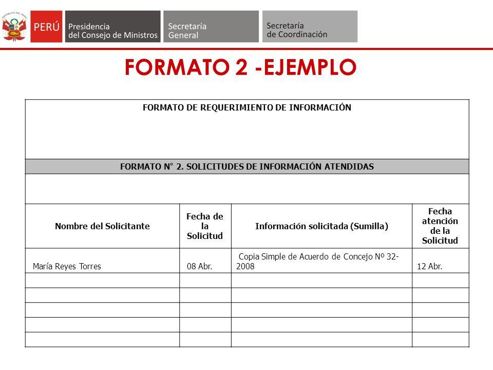 FORMATO 2 -EJEMPLO FORMATO DE REQUERIMIENTO DE INFORMACIÓN