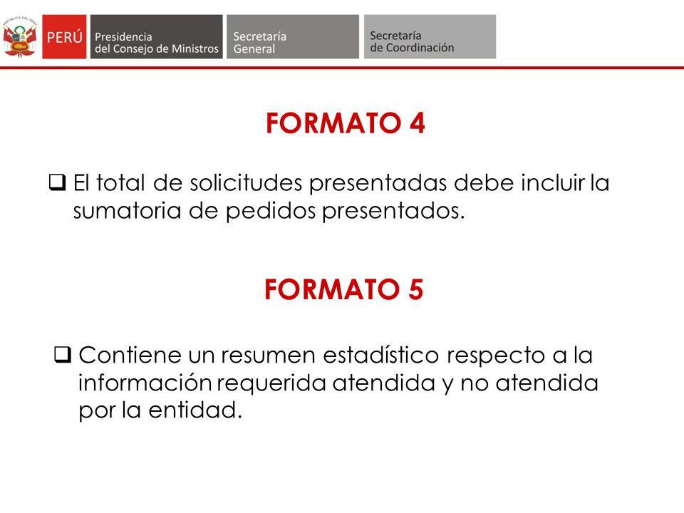 FORMATO 4 El total de solicitudes presentadas debe incluir la sumatoria de pedidos presentados. FORMATO 5.