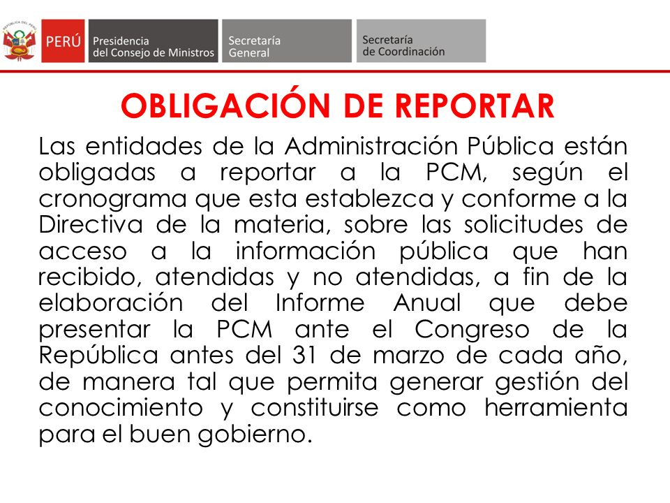 OBLIGACIÓN DE REPORTAR