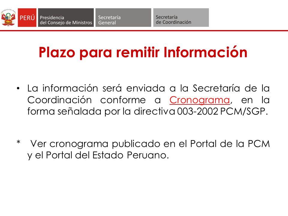 Plazo para remitir Información
