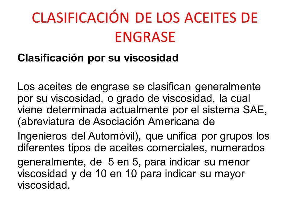 CLASIFICACIÓN DE LOS ACEITES DE ENGRASE