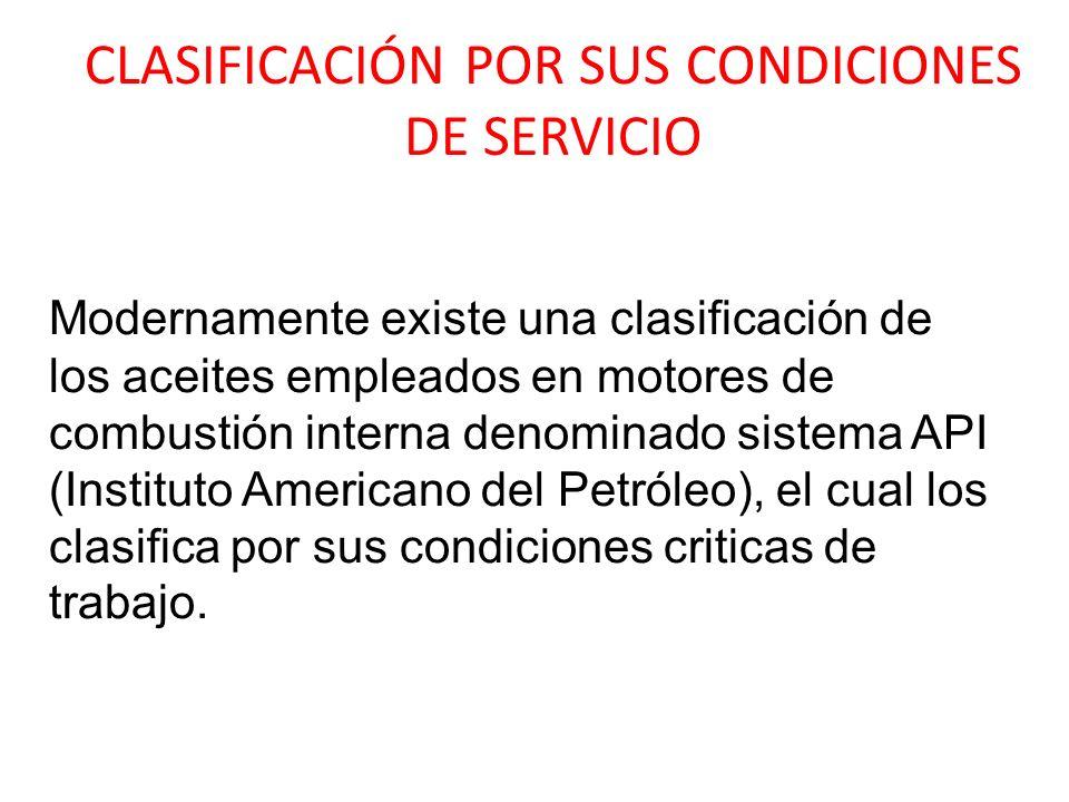 CLASIFICACIÓN POR SUS CONDICIONES DE SERVICIO