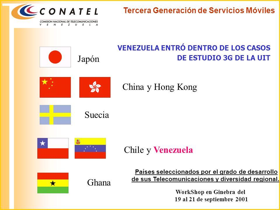 Japón China y Hong Kong Suecia Chile y Venezuela Ghana