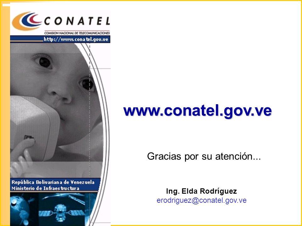 www.conatel.gov.ve Gracias por su atención... Ing. Elda Rodríguez