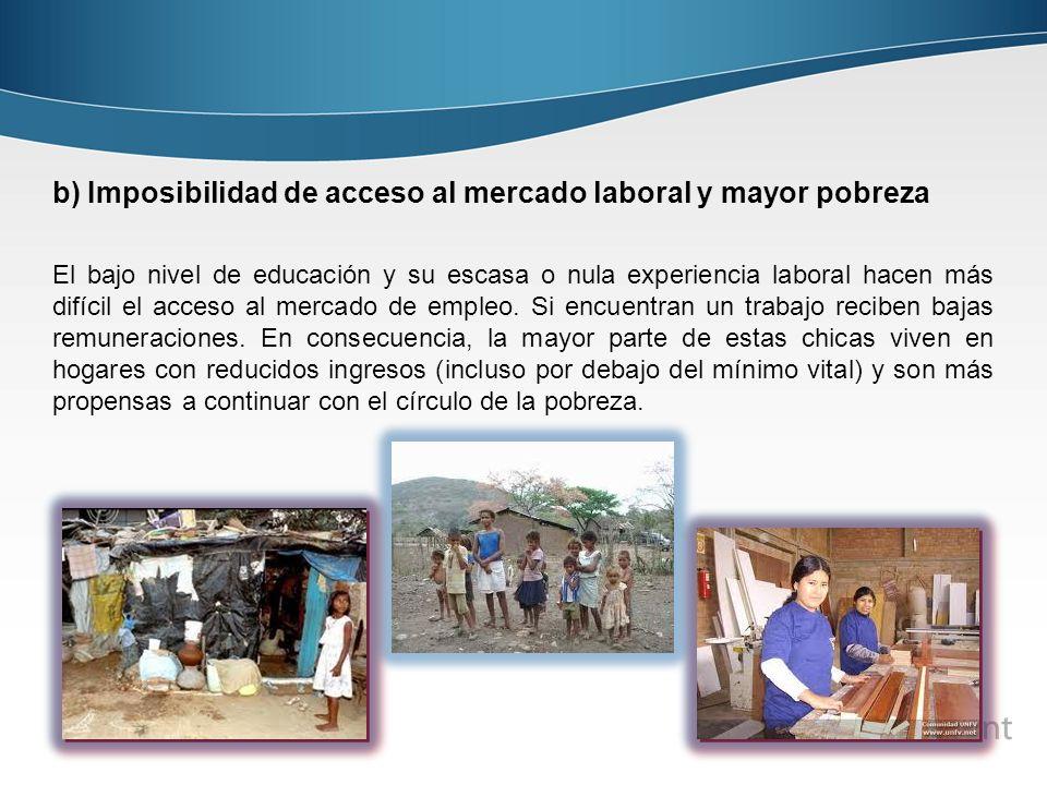 b) Imposibilidad de acceso al mercado laboral y mayor pobreza