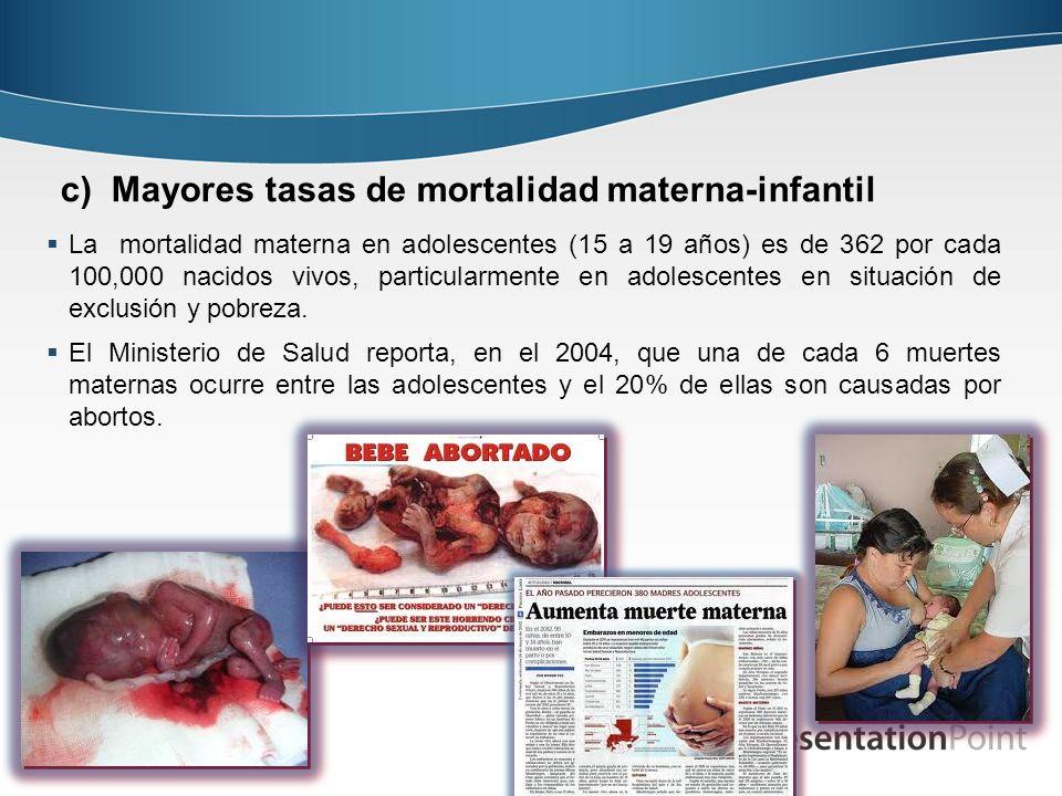 c) Mayores tasas de mortalidad materna-infantil