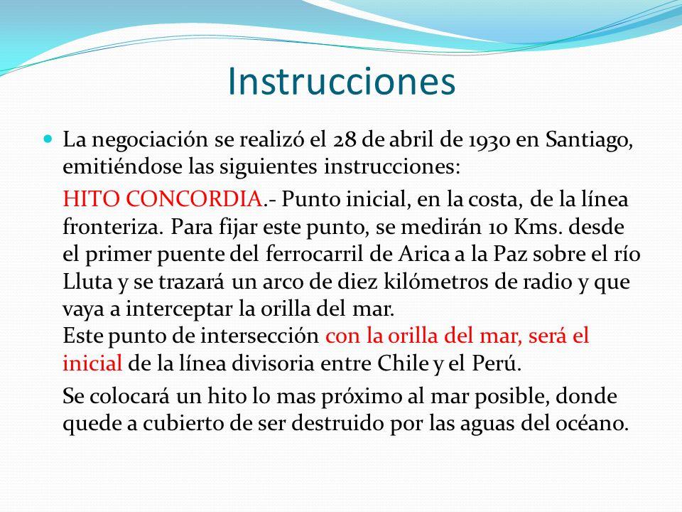 Instrucciones La negociación se realizó el 28 de abril de 1930 en Santiago, emitiéndose las siguientes instrucciones: