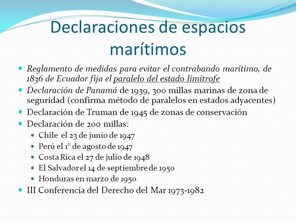 Declaraciones de espacios marítimos