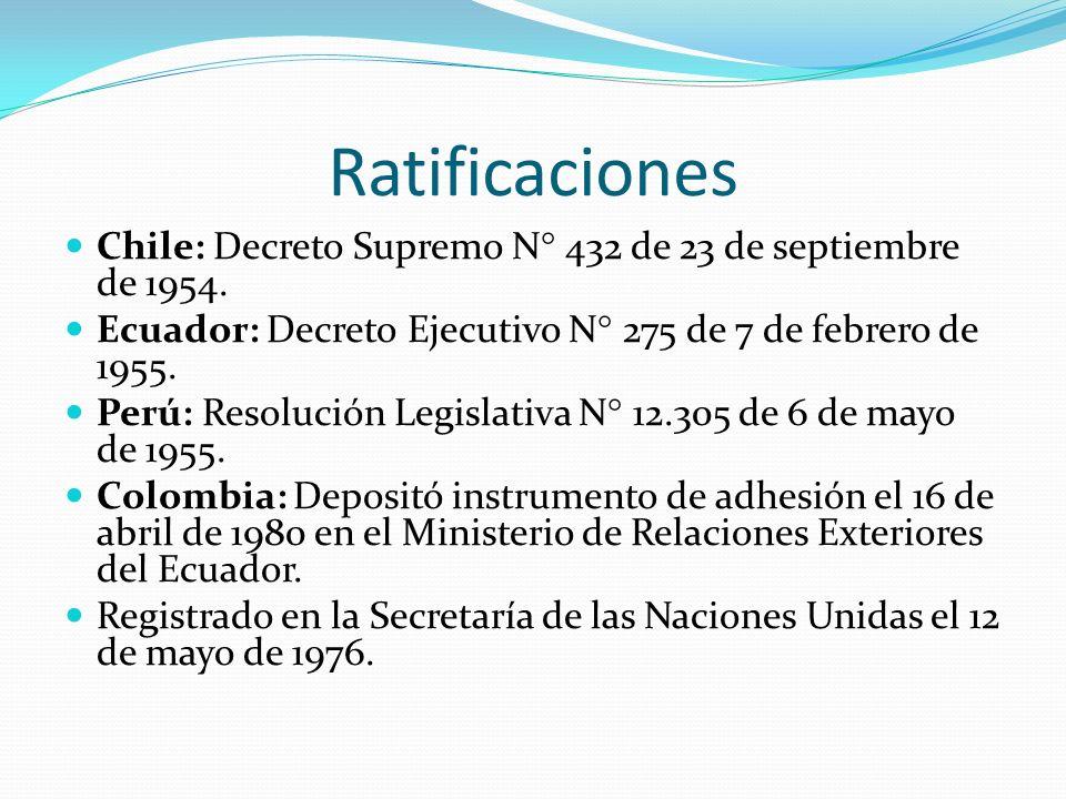 Ratificaciones Chile: Decreto Supremo N° 432 de 23 de septiembre de 1954. Ecuador: Decreto Ejecutivo N° 275 de 7 de febrero de 1955.