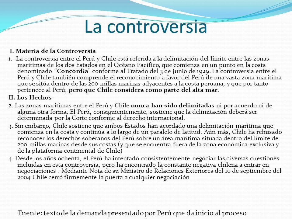 La controversia I. Materia de la Controversia.