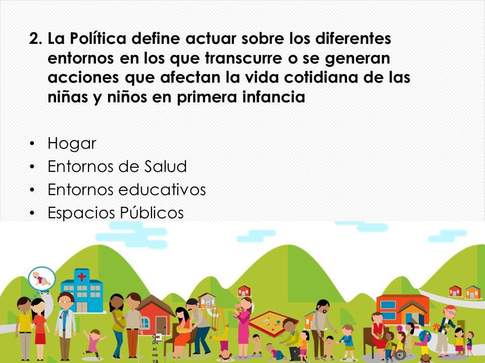 2. La Política define actuar sobre los diferentes entornos en los que transcurre o se generan acciones que afectan la vida cotidiana de las niñas y niños en primera infancia