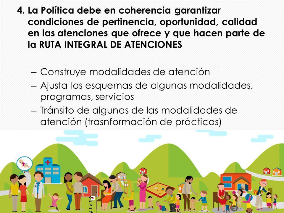 4. La Política debe en coherencia garantizar condiciones de pertinencia, oportunidad, calidad en las atenciones que ofrece y que hacen parte de la RUTA INTEGRAL DE ATENCIONES