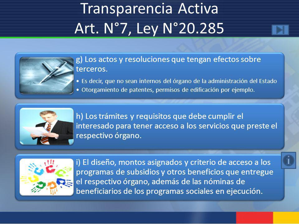 Transparencia Activa Art. N°7, Ley N°20.285