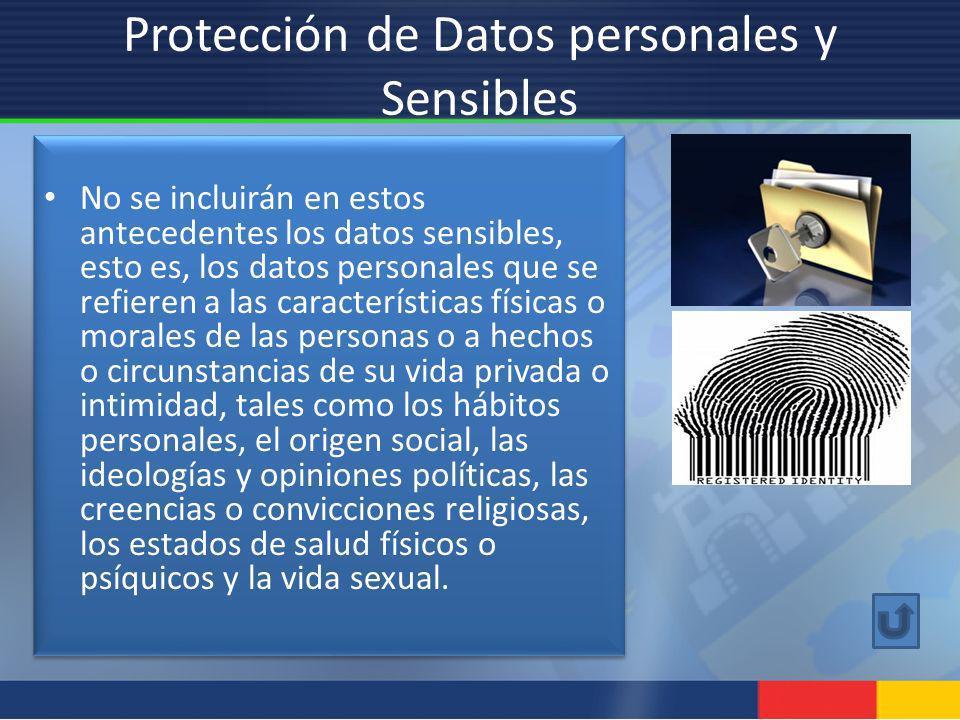 Protección de Datos personales y Sensibles