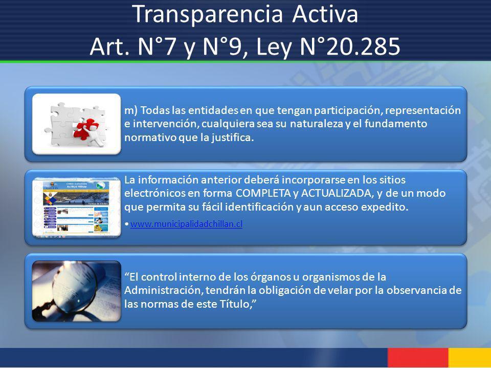 Transparencia Activa Art. N°7 y N°9, Ley N°20.285