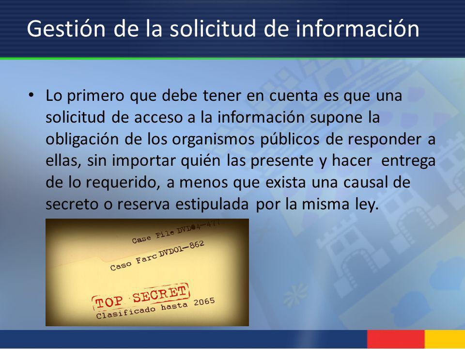 Gestión de la solicitud de información