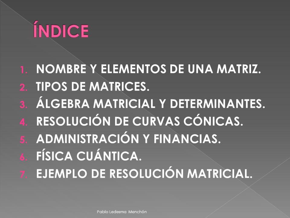 ÍNDICE NOMBRE Y ELEMENTOS DE UNA MATRIZ. TIPOS DE MATRICES.