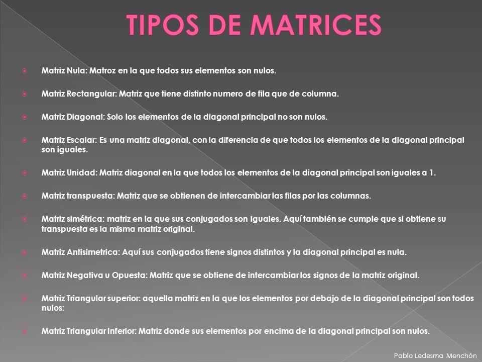 TIPOS DE MATRICES Matriz Nula: Matroz en la que todos sus elementos son nulos.