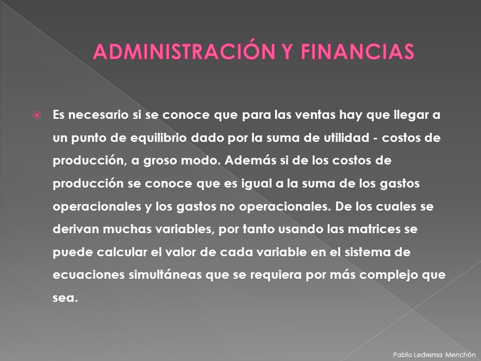 ADMINISTRACIÓN Y FINANCIAS
