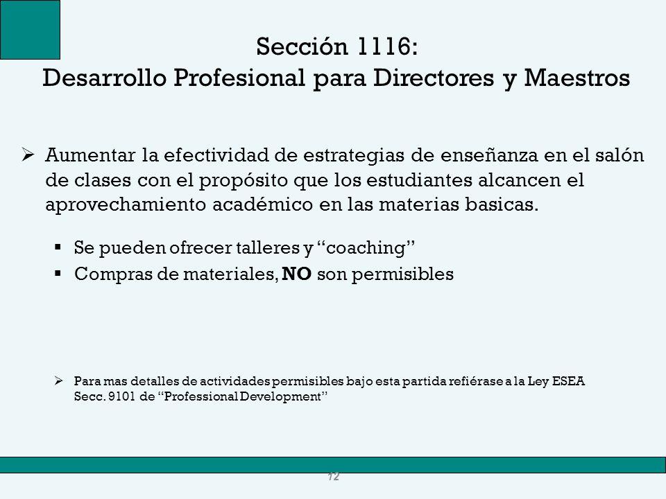 Sección 1116: Desarrollo Profesional para Directores y Maestros