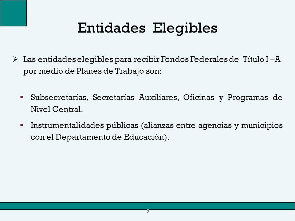 Entidades ElegiblesLas entidades elegibles para recibir Fondos Federales de Título I –A por medio de Planes de Trabajo son: