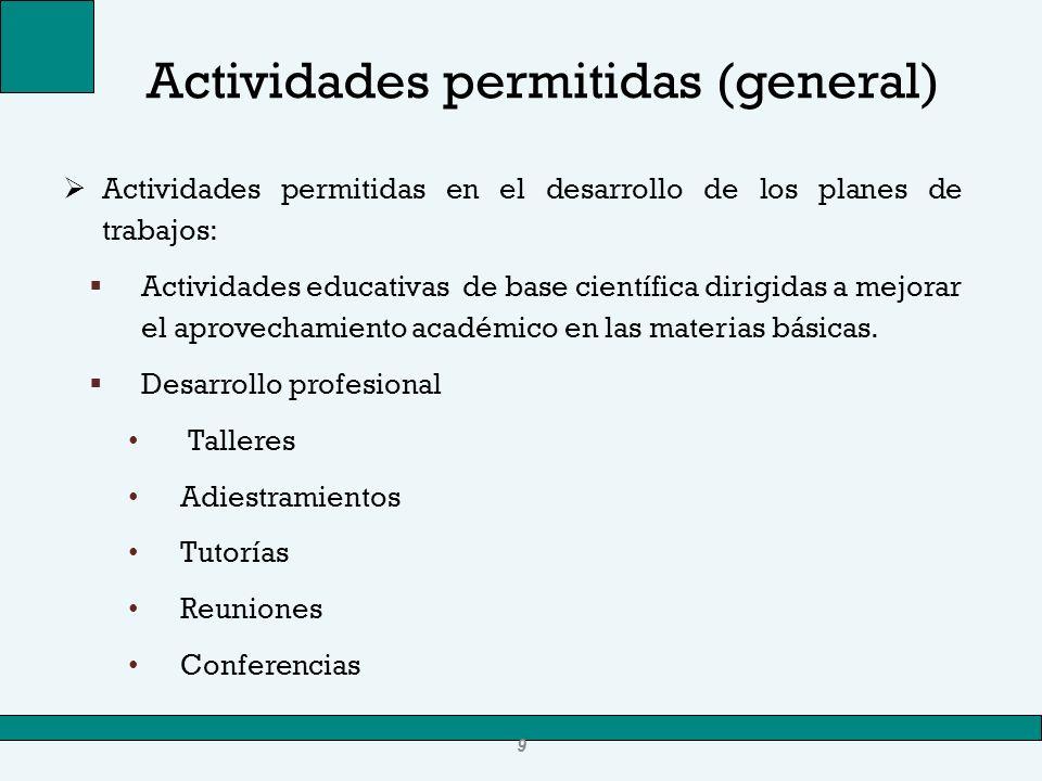 Actividades permitidas (general)