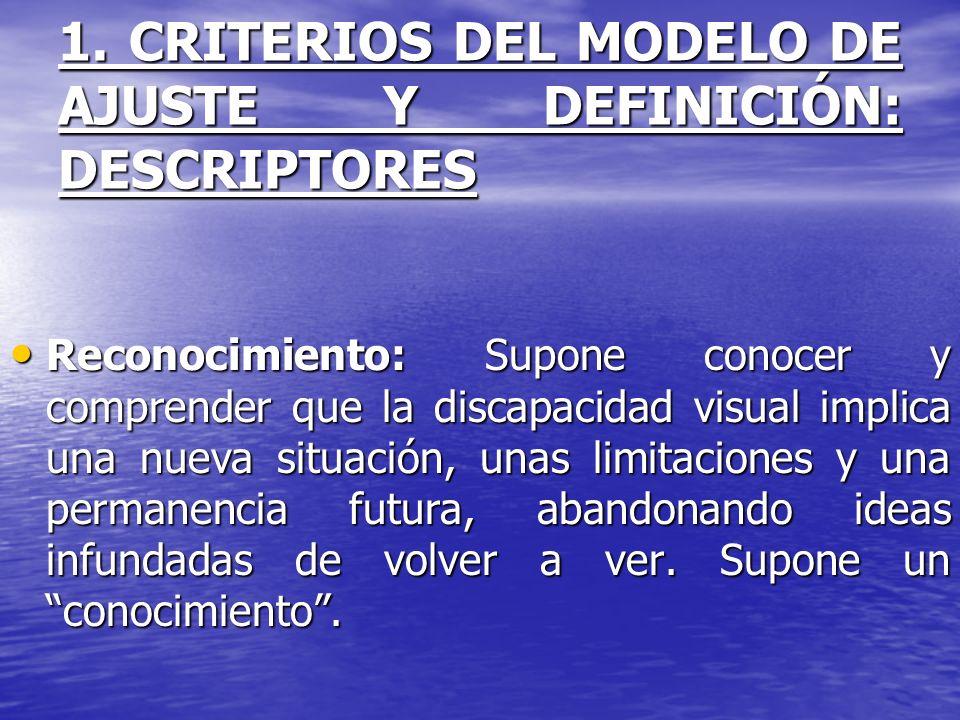1. CRITERIOS DEL MODELO DE AJUSTE Y DEFINICIÓN: DESCRIPTORES