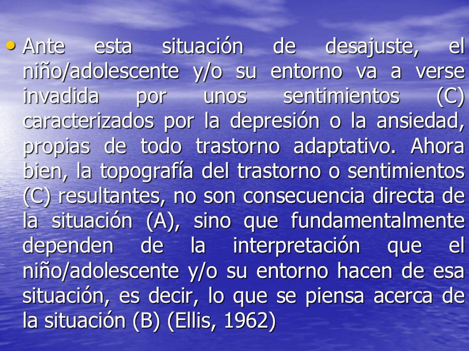 Ante esta situación de desajuste, el niño/adolescente y/o su entorno va a verse invadida por unos sentimientos (C) caracterizados por la depresión o la ansiedad, propias de todo trastorno adaptativo.