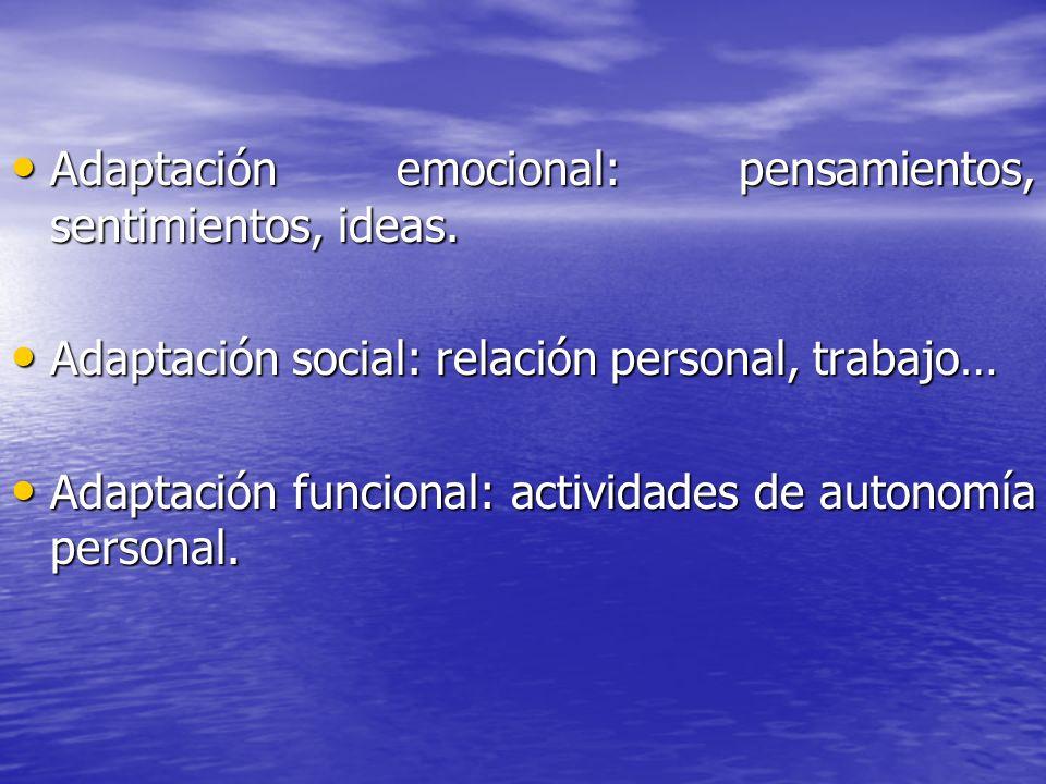 Adaptación emocional: pensamientos, sentimientos, ideas.