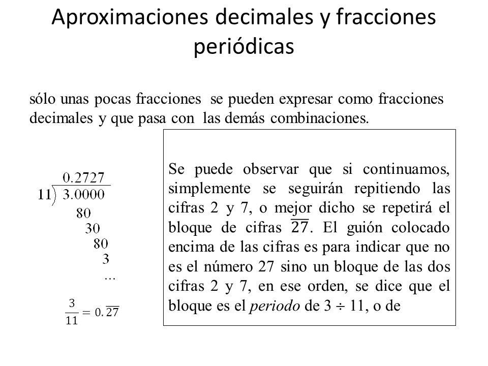 Aproximaciones decimales y fracciones periódicas