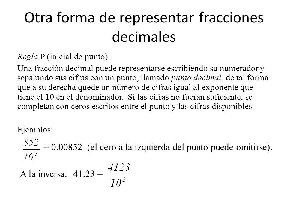 Otra forma de representar fracciones decimales