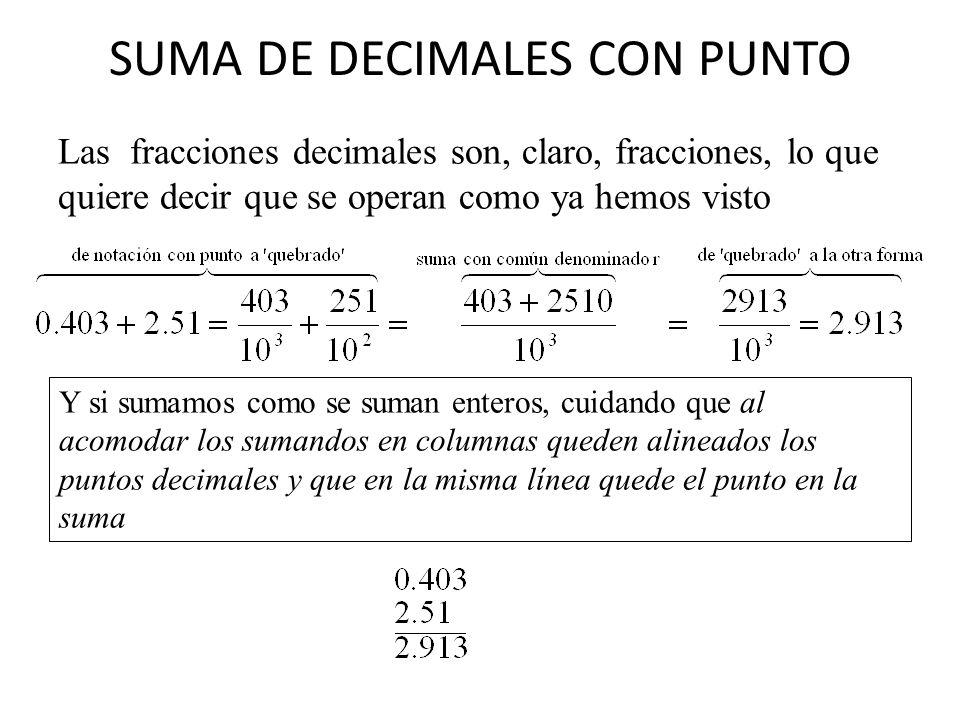 SUMA DE DECIMALES CON PUNTO