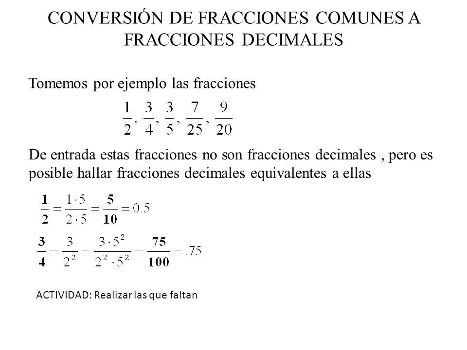 CONVERSIÓN DE FRACCIONES COMUNES A FRACCIONES DECIMALES