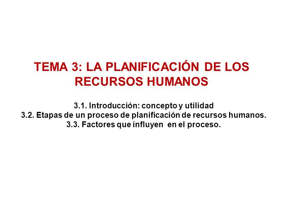 TEMA 3: LA PLANIFICACIÓN DE LOS RECURSOS HUMANOS