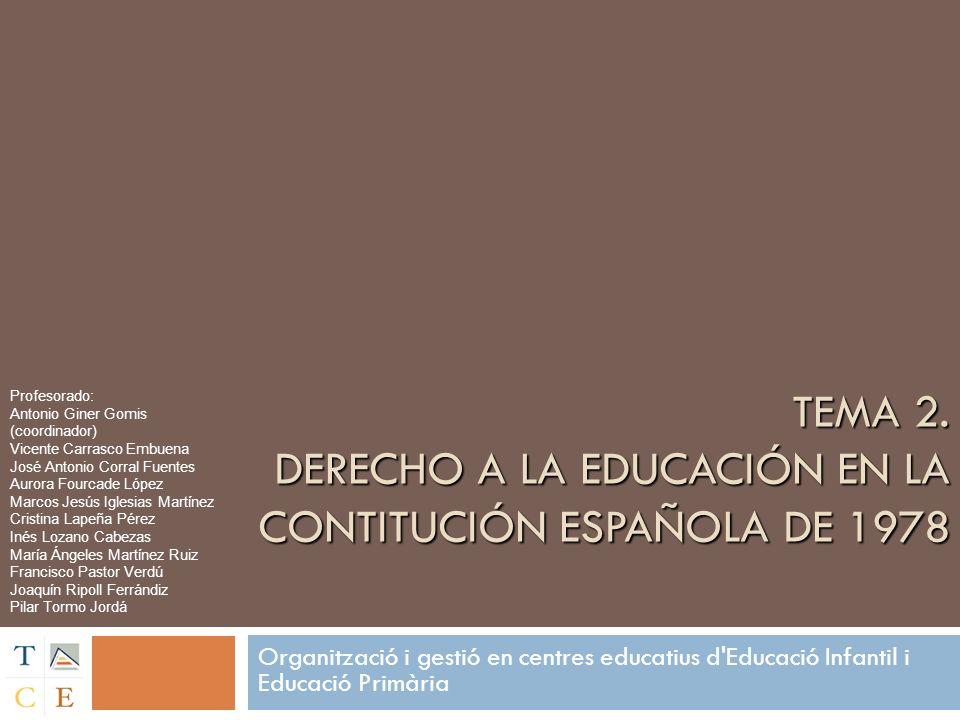 TEMA 2. DERECHO A LA EDUCACIÓN EN LA CONTITUCIÓN ESPAÑOLA DE 1978