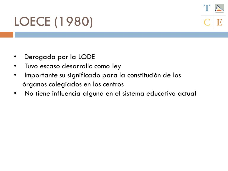 LOECE (1980) Derogada por la LODE Tuvo escaso desarrollo como ley