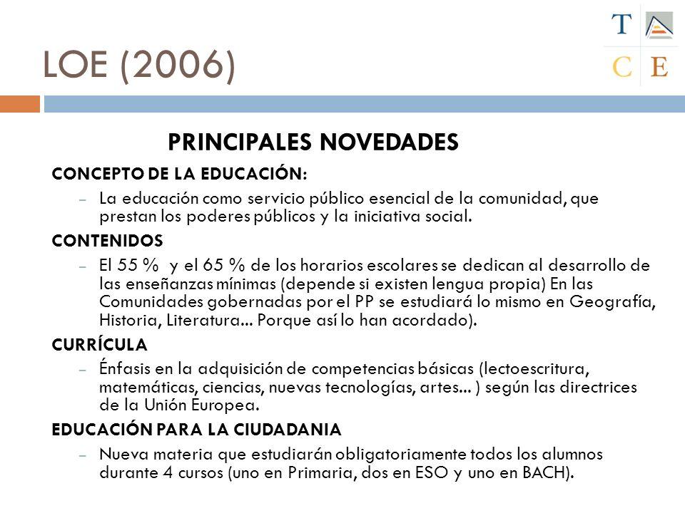 LOE (2006) PRINCIPALES NOVEDADES CONCEPTO DE LA EDUCACIÓN: