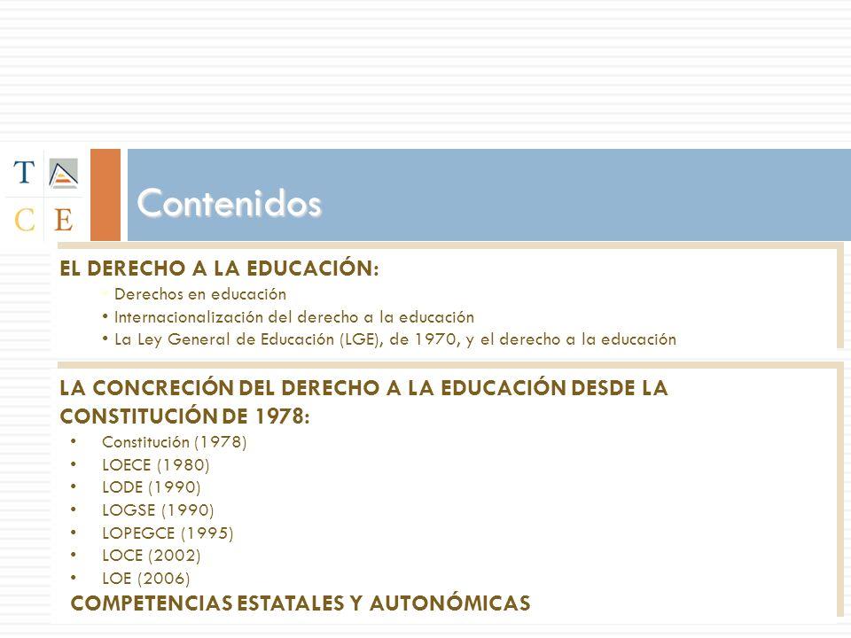 Contenidos EL DERECHO A LA EDUCACIÓN: