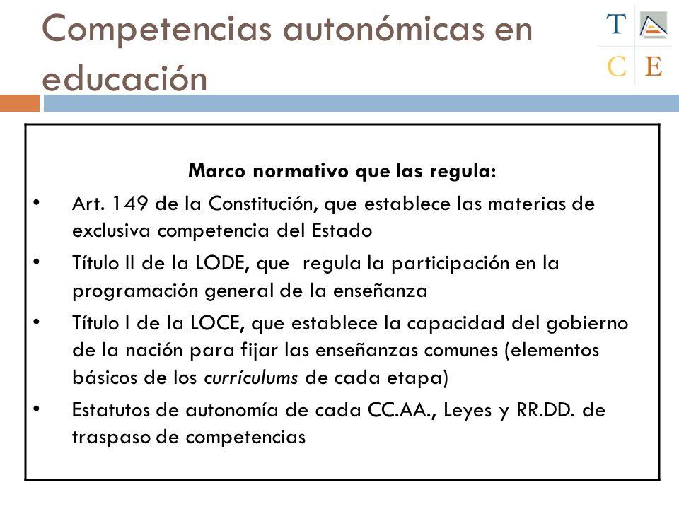 Competencias autonómicas en educación