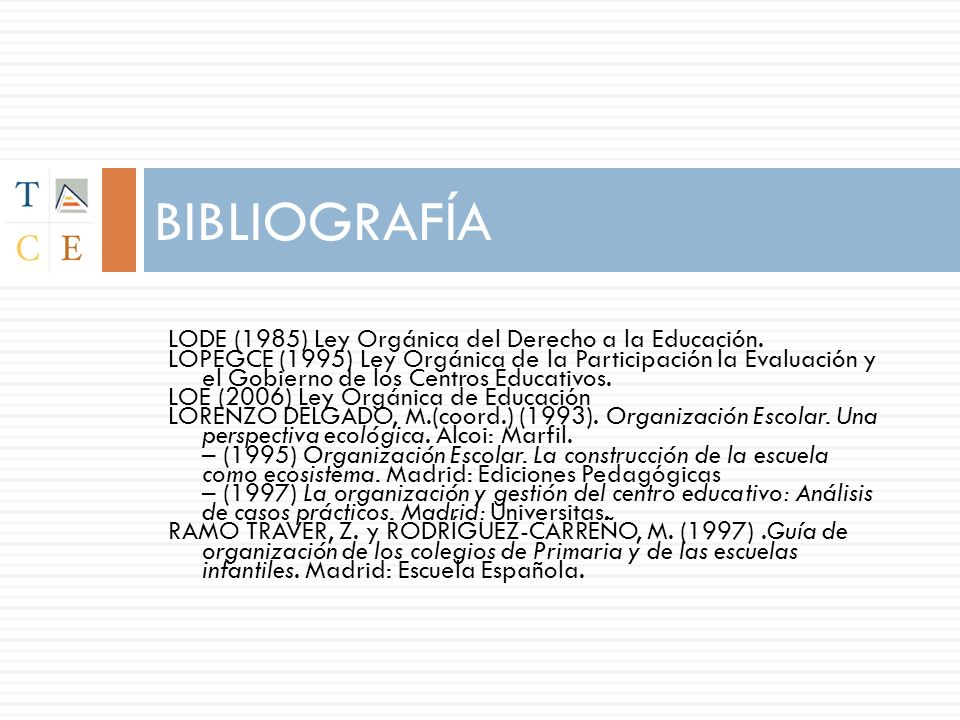BIBLIOGRAFÍA LODE (1985) Ley Orgánica del Derecho a la Educación.