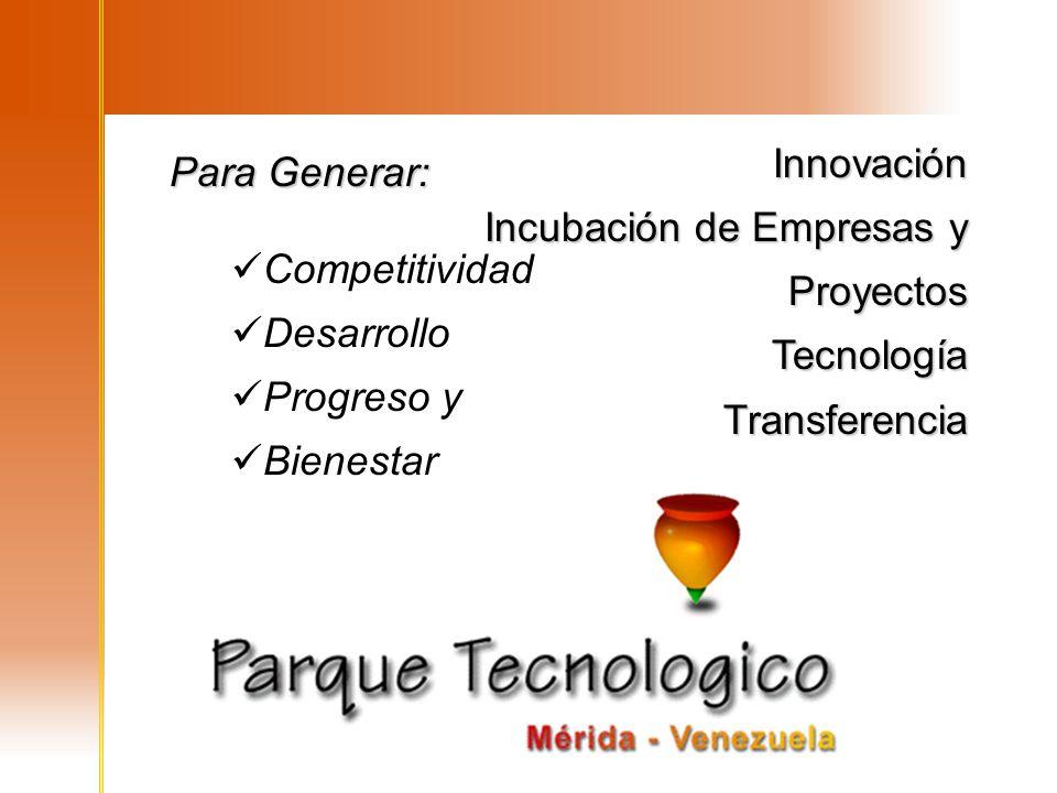 Innovación Incubación de Empresas y Proyectos. Tecnología. Transferencia. Para Generar: Competitividad.