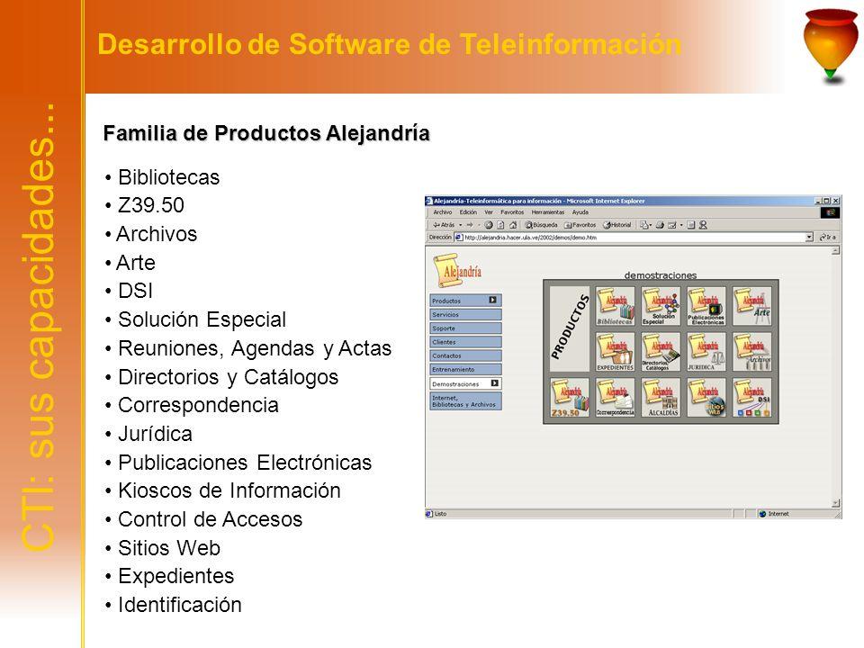 CTI: sus capacidades... Desarrollo de Software de Teleinformación