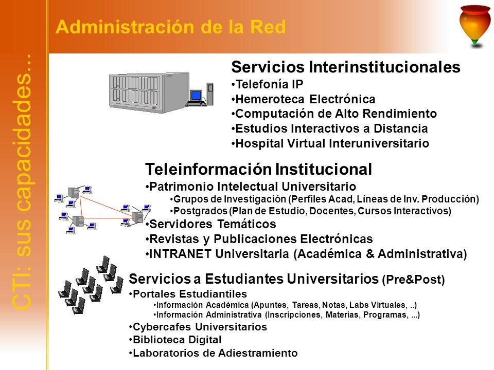 CTI: sus capacidades... Administración de la Red