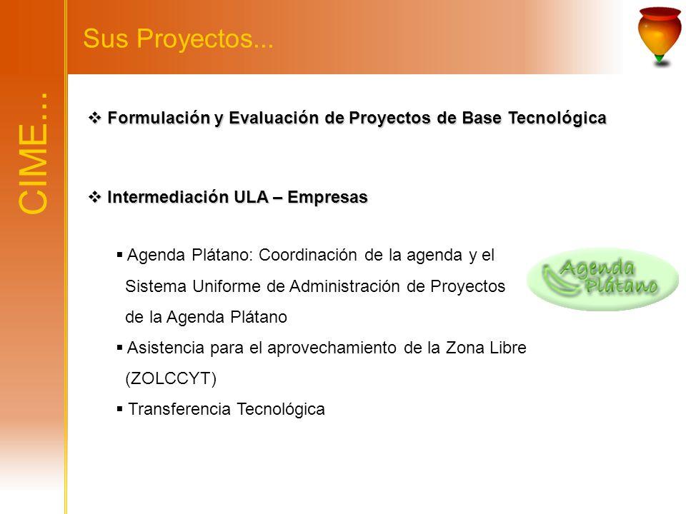 Sus Proyectos... Formulación y Evaluación de Proyectos de Base Tecnológica. CIME... Intermediación ULA – Empresas.