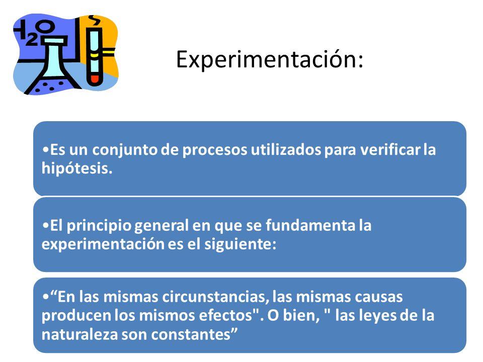 Experimentación: Es un conjunto de procesos utilizados para verificar la hipótesis.