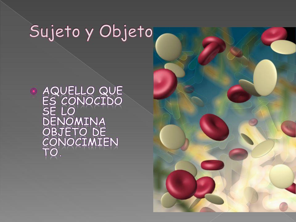 Sujeto y Objeto Aquello que es conocido se lo denomina objeto de conocimiento.